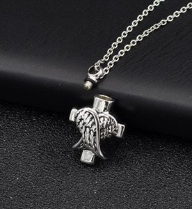 DHL Angle Wings Cross Cremation Jewelry Silver Cremation Urn Necklace Pendant Memorial Keepsake Necklace Locket Jewelry nf