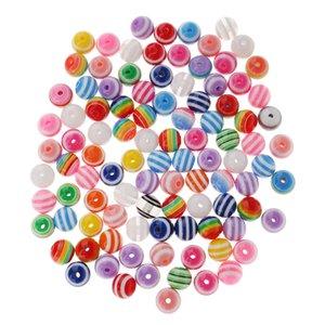 100 Piezas Color surtido Resina Rayas Spacer Bolas Bolas Para Joyería Making Crafts DIY 10mm