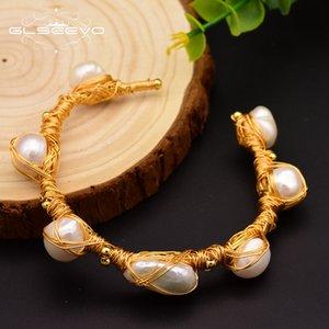 Glseevo المياه العذبة الطبيعية الباروك بيرل أساور للنساء هدايا للتعديل أساور الإسورة فاخرة غرامة مجوهرات Gb0063 C19021501
