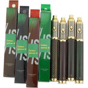1650 мАч Vision Spinner 3 Battery E Сигаретная ручка Vape 510 Напряжение резьбы Регулируемые батареи Fit 510 Форсунки 4 Цвета