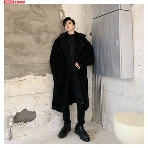 Dropshipping Jacket 2019 Projeto Coats Velvet capuz Alongar Masculino Sólidos manga comprida lapela aquecimento Manto