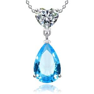 925 Sterling Silver Colares For Women Sapphire Simples / Ruby Water Drop nupcial do casamento Fine Jewelry Pingente nenhuma cadeia