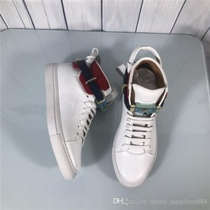 2019 The latest classical mens casual shoes High-top sneakers Fashion designer Genuine Leather white with lock,size 38-45