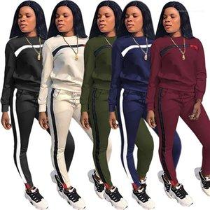 Спортивные наборы Мода Сыпучие Ladies Две пьесы костюмы Лоскутная Печатные Womens костюмы осень длинным рукавом Экипаж шеи полосатые отпечатанных 2PCS