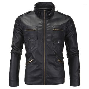 Coats Winter Fashion Male Outerwears PU Mens Motorcycle Jacket Designer Long Sleeve Stand Collar Mens Leather