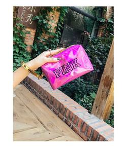 Makeup bags cosmetic bag Love Pink letter Hologram Laser Cosmetic bag Make Up bags Large capacity Storage waterproof wash tolitery bag