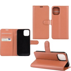 Lichi Grain Pu Leather Folio Flip Case With Credit Slots For Iphone 12 Max 6.1 Inch Case