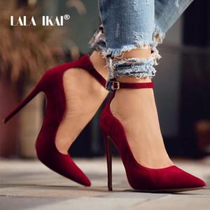 LALA IKAI Ladies Flock Curve Насосы Остроконечные Toe Пряжка ремешка Супер высокие каблуки для свадьбы Sapato Сальто Feminino 014C1293 -49 CJ191217