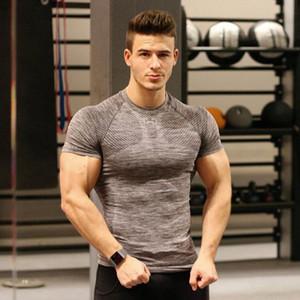 Uomo Breve Marca rapida asciugatura indumenti sportivi mens abbigliamento da palestra stretta Pallacanestro Formazione Fitness T-shirt commercio all'ingrosso di usura