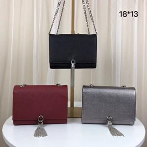 2020 Novo estilo bolsas Tassel do metal bolsa de prata corrente de ouro mini-bolsa bolsa de couro genuíno tampa flip requintados sacos de ombro com caixa