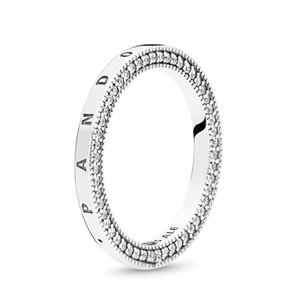 925 Coeurs Signature Argent Sterling Anneaux d'un couple avec logo et Pandora Box Bijoux Luxe Designer Femmes Hommes CZ Diamant Amour Chevalière
