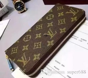 A2 Fashion women high quality Genuine leather wallet clutch purse classic single zipper wallets long purse with orange box dust bag