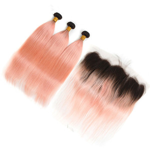 Malaysian Human Hair Ombre Rose Pink Gold 3Bundles with Frontal Closure 4Pcs Lot Straight #1B Pink Ombre Weave Wefts with Lace Frontal 13x4