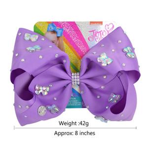 8 '' Clip Rainbow Butterfly Hairpin Gradient Drucken Ripsband Bow Strass Taille mit Krokodilklemmen 082