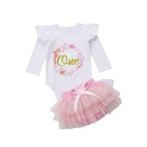 Flower Girls Princess Tutu Clothing Set Baby Long Sleeve Romper +Lace Tutu Skirt Outfits Baby Cloting