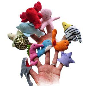 10 шт. / Лот милый мультфильм океан животных куклы пальца установить ранние развивающие игрушки для маленьких детей малышей история время показывает время воспроизведения