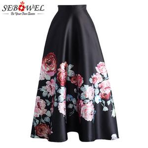 Sebowel Blumendruck Hohe Taille Maxirock Womans Elegante Damen Lange Blume Gefaltete Vintage Röcke 2019 Neue Stil Weibliche Röcke Y19060301