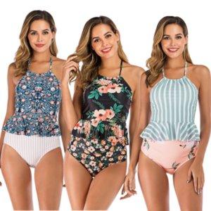 Retro Stampa Tankini vita alta Bikini Due Pezzi Vintage Bathing Suit Ruffle Halter del costume da bagno Plus Size Female Boho Costumi da bagno
