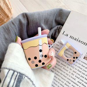 Caso de auriculares té de la perla colgante leche AirPods de silicona para Apple gota a prueba de cubierta Personalidad japonés y coreano Mujeres