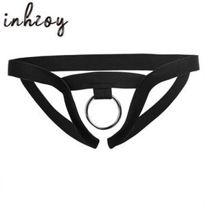 Atractivo caliente de los hombres la ropa interior erótica ropa interior Crotchless tanga del bikini calzoncillos con Cock O-Ring del varón adulto Gay Tangas Bragas