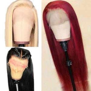 Anteriore diritta merletto rosso dei capelli umani parrucca 13x6 profonda Parte 613 Blonde Remy del brasiliano Borgogna parrucche piene 150% Densità Per Black Women nuova