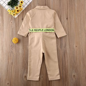 2019 New Fashion Infant Kids Girls Rompers Letter Patchwork Print Single Breasted Long Sleeve Jumpsuits Outifts