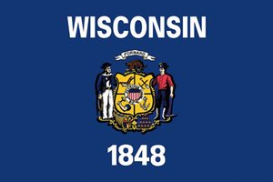 Individuell Wisconsin State Flag 3x5 Feet USA Staaten Polyester-Flagge mit 2 Metal Grommet