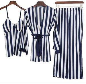 Freshing Été 3 Pcs Sexy De Soie De Glace Femme Pyjama Set Longue Ceinture Ceinture Pijama J190704 J190705