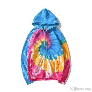 Herbst Winter New Lover Farbe Tie Dye Farbverlauf Sport Hip Hop Sweater Männer Casual Hoodies Jacke
