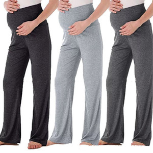 Maternity Pants Women's high waist Wide Leg Pants Solid Color Comfy Lounge Stretch Pregnancy Trousers Girl Casual Pajama Pants M2014