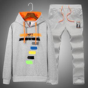 Nova Marca Men Set Outono Sweat Sporting camisola Suit + Sweatpants 2 peças com forro de lã Hoodies Treino Masculino Sportswear