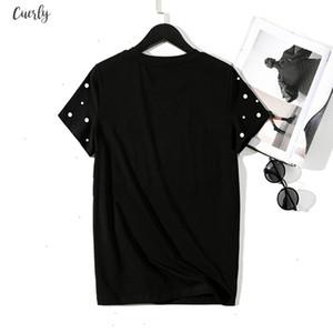 2020 Summer New Pearls Beaded T Shirt Women Cotton Loose Casual Tops Women Short Sleeve O Neck T Shirt High Quality