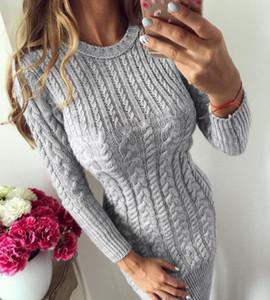 Neue herbst winter warme pullover dress frauen sexy schlank bodycon dress weibliche o neck langarm strickkleid vestidos