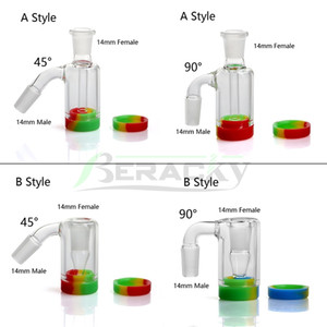 Beracky 14mm 18mm Glass Ash Catcher with 10ML Silicone Container Reclaimer Male Female Ashcatchers for Quartz Banger Water Bongs Dab Rigs