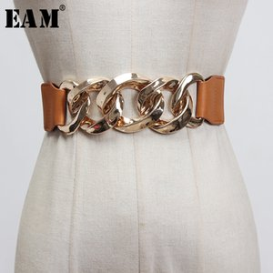 [EAM] Camel Pu Leather Metal Split Joint Elastic Wide Belt Personality Women New Fashion Tide All-match Spring 2020 1X048