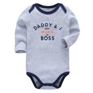 Meninos Roupa recém-nascido Bodysuit manga comprida 100% Bebês de algodão infantil da criança 3 6 9 12 18 24 Meses Roupa para meninas