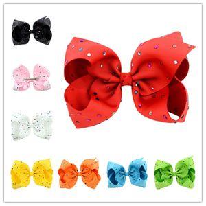 Ins Bebek JoJo Kabarcık Yay Firkete 8 Inç Renkli Elmas Nokta Bowknots Barrette Renkli Çiçek Şerit Saç Klip Saç Aksesuarları A32705