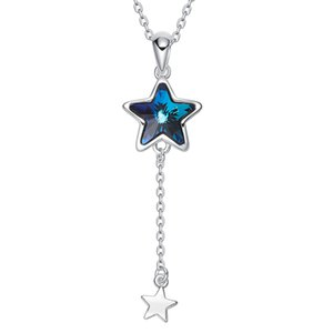 wholesale Crystals from Swarovski Long Trendy Women Necklace Pendant Blue Star Shaped Necklace Australian Rhinestone Bijoux Gifts