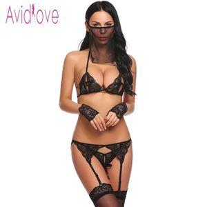 Avidlove Kadınlar Seksi Tanga Ile 5 Parça Lingerie Dantel Sutyen Kısa Jartiyer Çiçek Porno Seks Iç Çamaşırı Bebek Egzotik Giysi T190624