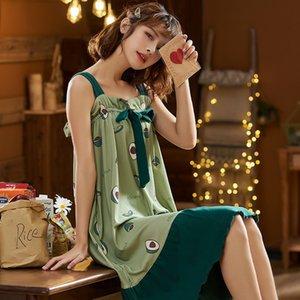 NIGHTWA Фрукты печати Nightgowns Сыпучие Мягкая пижамы Сладкие Sexy Ночное Большой размер Nightdress Удобный хлопок Home для одежды