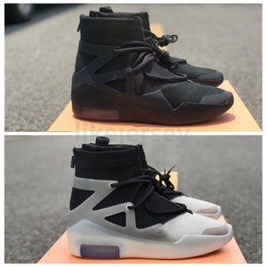 Top Quality Fear Of God 1 FOG Newest String Triple Black High Basketball Shoes Mens Authentic Sport Sneakers Size 40-47