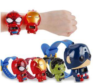 Montre de déformation télescopique pour enfants de dessin animé électronique Spiderman de voiture de voiture de chat pour les garçons d'étudiant fille Avengers montre-bracelet avec la boîte