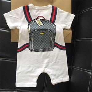 INS bebê Romper Infant Boy meninas roupa de escalada 100% de algodão Long manga curta dos desenhos animados Schoolbag Imprimir Jumpsuit Primavera-Verão Romper E22005