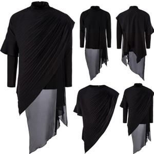 19AW Mens Designer T-Asymétrique Solide Couleur pied de col froncé deux pièces T-shirt New Arrival Vêtements pour hommes