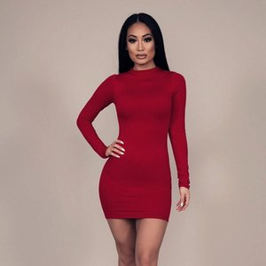 Женщины Новая мода Zipper оболочки платье осени сплошной цвет высокий воротник с длинными рукавами Дизайнерские женские платья