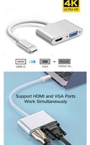 2-en-1 Tipo-C USB C 3.0 Hub a HD 4K HDMI y HD 1080P Puerto VGA 10cm Línea USB C Hub Tipo-C 3.0 para PC portátil
