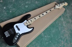 Заводские 4-струнная Black Electric Jazz Bass Guitar с черной инкрустацией и Chrome Hardware, Белой накладкой, может быть настроен.