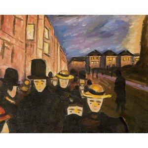 Edvard Munch tarafından ünlü soyut sanat resimleri Karl Johan üzerinde Akşam el boyalı Yüksek kaliteli