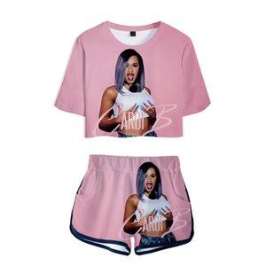 Cardi B розовый наряд 3D печати футболка женский костюм шорты лето 2 шт комплект топ ансамбль Femme женские наряды 2019 2 шт женщины