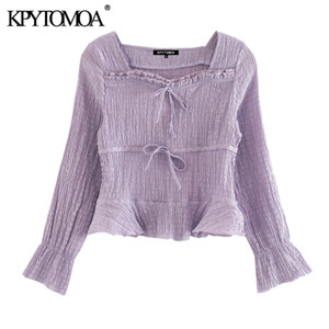 KPYTOMOA Women 2020 Sweet Fashion Ruffled Lace-up Cropped Blouses Vintage Square Collar Long Sleeve Female Shirts Chic Tops